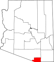 Arizona Map showing Santa Cruz County