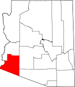 Arizona Map showing Yuma County