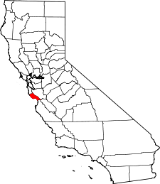 California Map showing Santa Cruz County