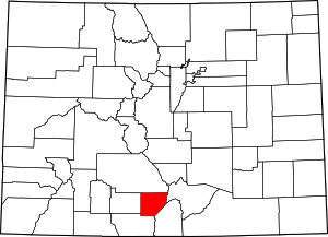 Colorado Map showing Alamosa County