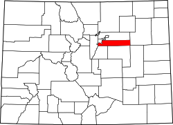 Colorado Map showing Arapahoe County