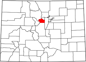 Colorado Map showing Clear Creek County