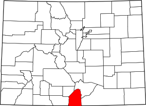 Colorado Map showing Costilla County