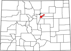 Colorado Map showing Denver County