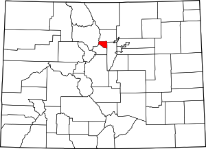 Colorado Map showing Gilpin County