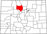 Colorado Map showing Grand County