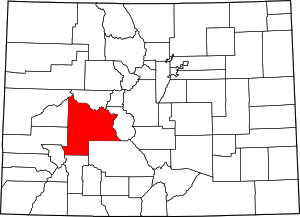 Colorado Map showing Gunnison County
