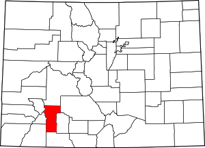Colorado Map showing Hinsdale County