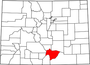 Colorado Map showing Huerfano County