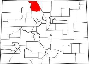Colorado Map showing Jackson County