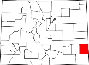 Colorado Map showing Prowers County