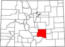 Colorado Map showing Pueblo County