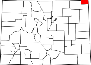 Colorado Map showing Sedgwick County