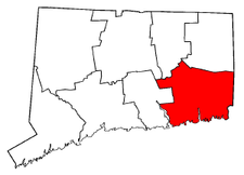 Connecticut Map showing New London County