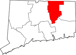 Connecticut Map showing Tolland County