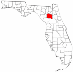Florida Map showing Alachua County