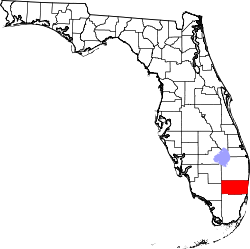 Florida Map showing Broward County