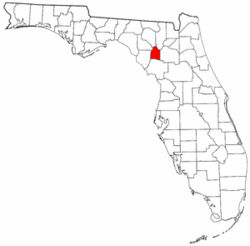 Florida Map showing Gilchrist County
