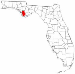 Florida Map showing Gulf County