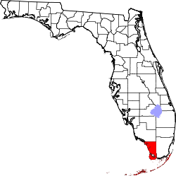 Florida Map showing Monroe County