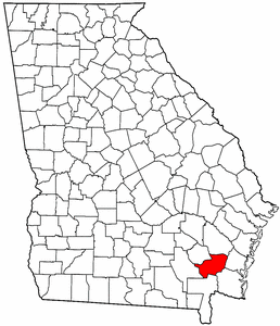 Georgia Map showing Brantley County