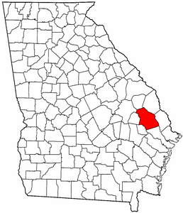 Georgia Map showing Bulloch County