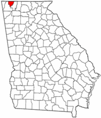 Georgia Map showing Catoosa County