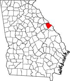 Georgia Map showing Columbia County