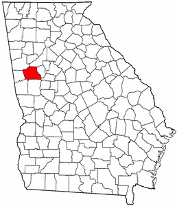 Georgia Map showing Coweta County