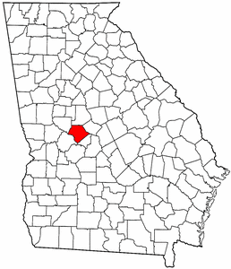 Georgia Map showing Crawford County
