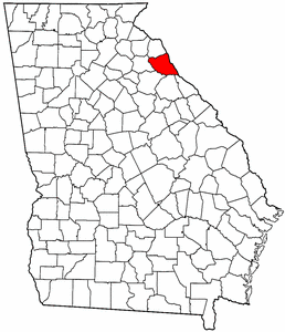 Georgia Map showing Elbert County