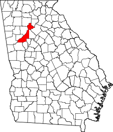 Georgia Map showing Fulton County