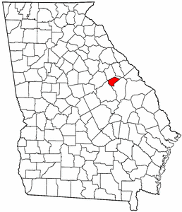 Georgia Map showing Glascock County
