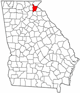 Georgia Map showing Habersham County