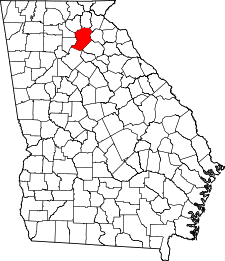 Georgia Map showing Hall County