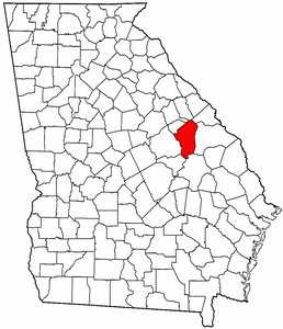 Georgia Map showing Jefferson County