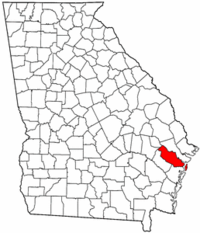 Georgia Map showing Liberty County