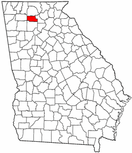 Georgia Map showing Pickens County