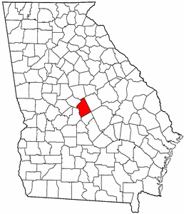 Georgia Map showing Twiggs County