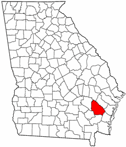 Georgia Map showing Wayne County