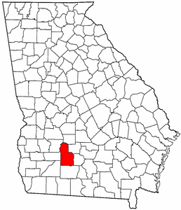 Georgia Map showing Worth County