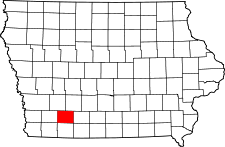 Iowa Map showing Adams County