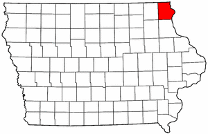 Iowa Map showing Allamakee County
