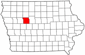 Iowa Map showing Calhoun County