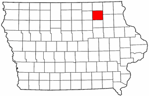 Iowa Map showing Chickasaw County