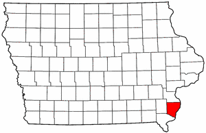 Iowa Map showing Des Moines County