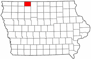 Iowa Map showing Emmet County