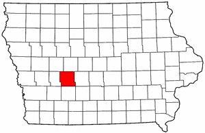 Iowa Map showing Guthrie County