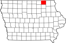 Iowa Map showing Howard County