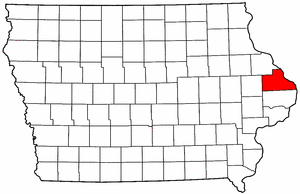 Iowa Map showing Jackson County